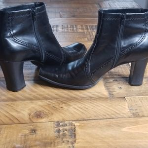 Franco Sarto Black Heel Square Toe Boot Size 9.5